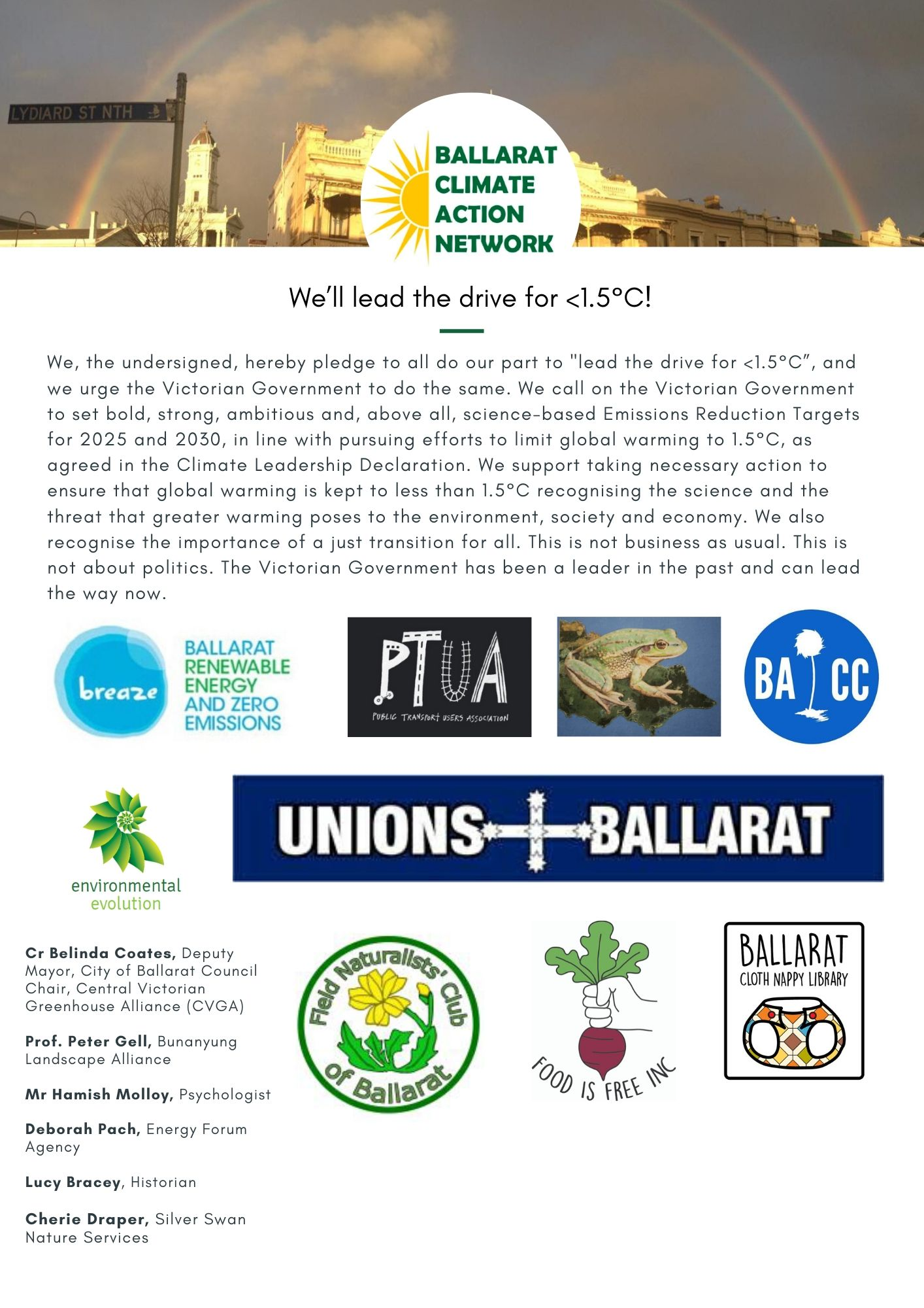Ballarat 1.5°C Community Statement for a Safe Climate____